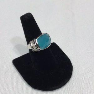 Lia Sophia ring size 8 turquoise stone & sparkles